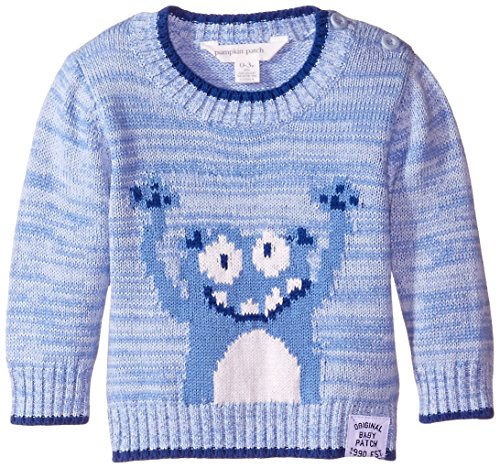 Pumpkin Patch Baby Boys' Long Sleeve Crew Neck Yeti Face Jumper In Oxford, Oxford Blue Marle, 0-3 Months
