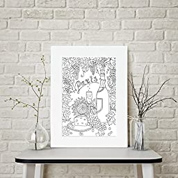 Paris - Meals Around the World - Personalized Wall Art 16x20 Matted DIY Giant Coloring Poster Artwork to Color or Paint & Hang (Frame Not Included)