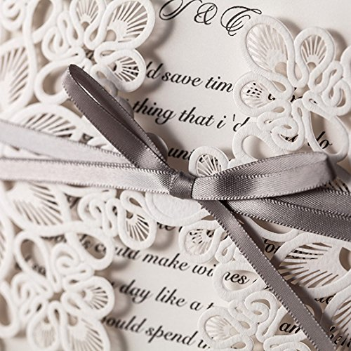 WISHMADE 50 Count Luxury Elegant Laser Cut Invitations Cards Kits White Printable for Wedding Birthday Baby Shower Bridal Shower with Ribbon and Envelopes 3