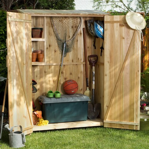 CEDAR ADIRONDACK Outdoor Chairs Tables and Patio Furniture Sets Storage Hutch - Storage Shed