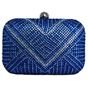 Chicastic Royal Blue Multi Color Rhinestone Crystal Hard Box Cocktail Clutch Purse