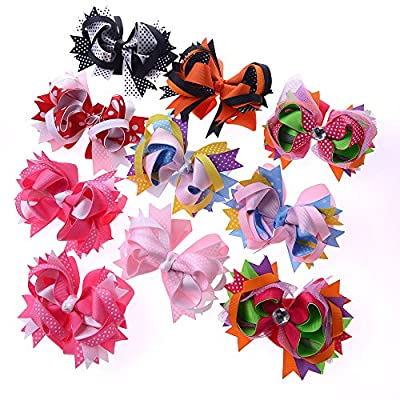"Big Elephant 10 Pieces Large 4.5""-5"" Women Toddlers Kids Baby Girls Hair Bows Clips Boutique Alligator Clip Grosgrain Ribbon Headbands Barrettes"