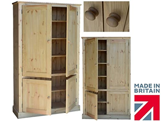 Solid Pine Storage Cupboard, Handcrafted & Waxed 4 Door Storage Linen, Pantry, Larder, Filing, Hallway or Kitchen Cabinet. Choice of Colours. No flat packs, No assembly (CUP100)