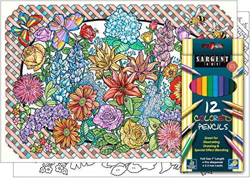 Flower Explosion - Beautiful Color By Number Poster Set - Includes 12 Coloring Pencils