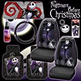 New 9 Pieces Disney Nightmare Before Christmas Jack Skellington Graveyard Car Auto Accessories Interior Combo Kit Gift Set - Front Floor Mats, Seat Covers, Steering Wheel Cover, Large Size Sunshade, Key Chain, Air-freshener and Travel Size Purple Slice