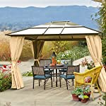 10 x 12 Hard Roof Patio Gazebo Aluminum Poles Heavy Duty Structure