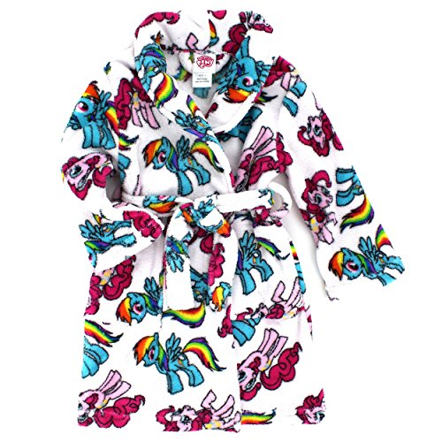My Little Pony Girls Plush Fleece Bathrobe Robe (8, White Rainbow Dash & Pinkie Pie) (Toddler Girl Robe)