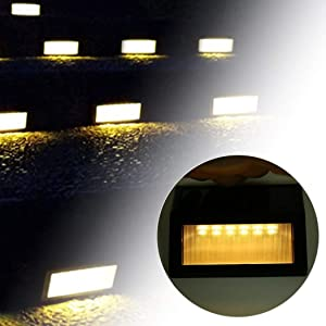 Solar Step Lights ,LED Solar Powered Step Lights Wireless Waterproof Outdoor Security Lamps Lighting for Steps Stairs Paths Patio Decks(Pack 12,Warm Yellow Light) (12 Pack) (Color: Warm Yellow Light, Tamaño: 12 pack)