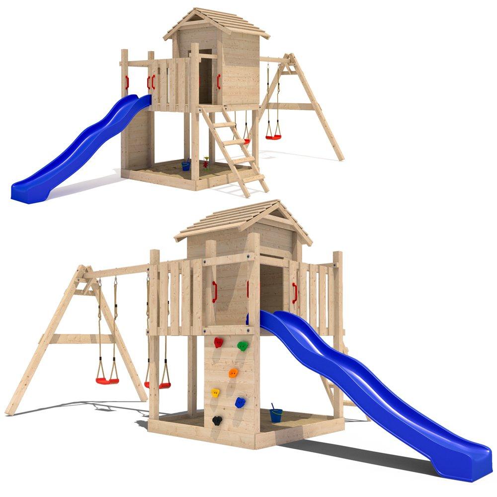 Stelzenhaus Spielturm Baumhaus Schaukel Holzspielhaus Kletterturm Rutsche günstig bestellen