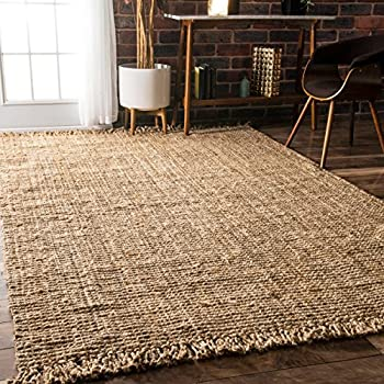 Handmade Eco Natural Fiber Chunky Loop Jute Beige Area Rugs, 5 Feet by 7 Feet 6 Inches (5 x 7 6
