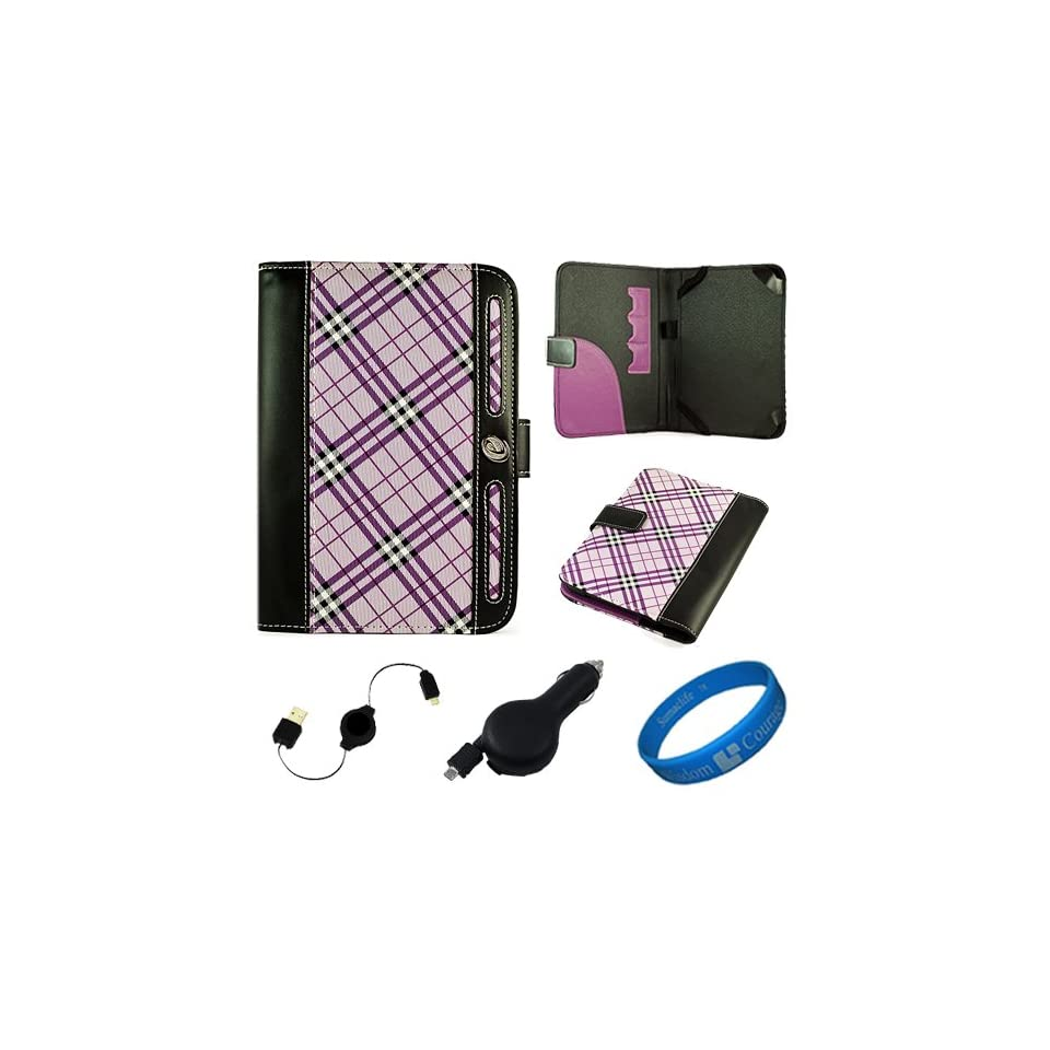 Purple Plaid Executive Leather Folio Case Cover for  Kindle Fire 7 inch Multi Touch Screen Tablet   8GB Android Wireless (Wifi) Tablet + Black Retractable Micro USB Car Charger + Black Retractable Micro USB Sync Data Cable + SumacLife TM Wisdom Coura