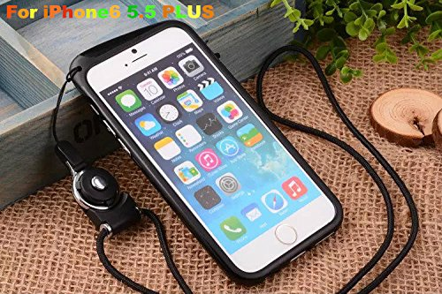 Feelglad Bumper Frame Protection Shell Case with Adjustable Detachable Neck Lanyard GEL Hanging Neck Strap Lanyard Holder for Iphone 6 Plus 5.5 Inch (C-for Iphone6 5.5-black) (Feelglad Bumper Frame compare prices)