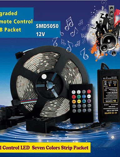 hjlhyl5m-150pcs-of-high-brightness-smd5050-led-20-keys-seven-sound-colors-led-remote-control-rgb-str