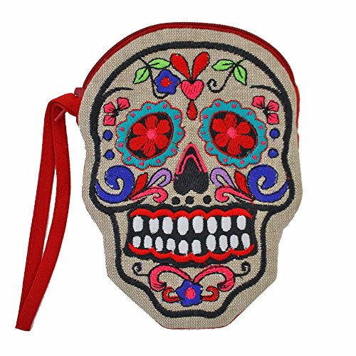 Red Day of the Dead Sugar Skull Small Coin Purse Wristlet Embroidered Colorful