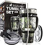 MalloMe Stainless Steel Vacuum Insulated 6-Piece Tumbler Set, Forest Floor Camouflage 30 oz