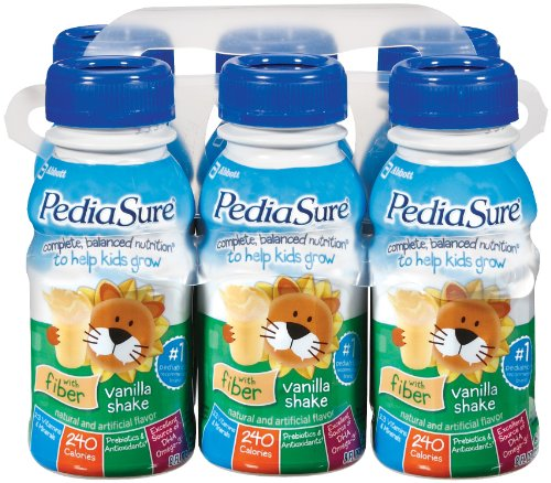 PediaSure Nutrition Drink with Fiber, Lactose Free, Vanilla, 8-Ounce (Pack of 24)