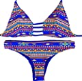 Sexybody Printing Push Up Top & Triangle Bottom Women Swimwear Bikini