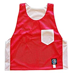 Red and White Pocket Reversible Lacrosse Pinnie
