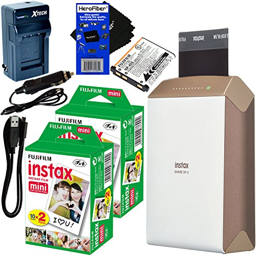 Fujifilm-instax-SHARE-Smartphone-Printer-SP-2-Gold-International-Version-No-Warranty-Instax-Mini-Instant-Film-40-sheets-Rchrgbl-Battery-ACDC-Charger-HeroFiber-Gentle-Cleaning-Cloth