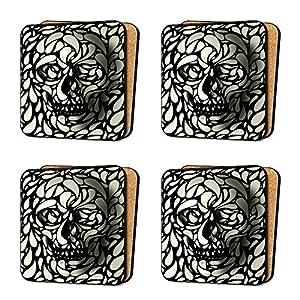 Skull pattern cool retro funky quirky 4 coaster set dinnerware furniture arts - Funky flatware sets ...