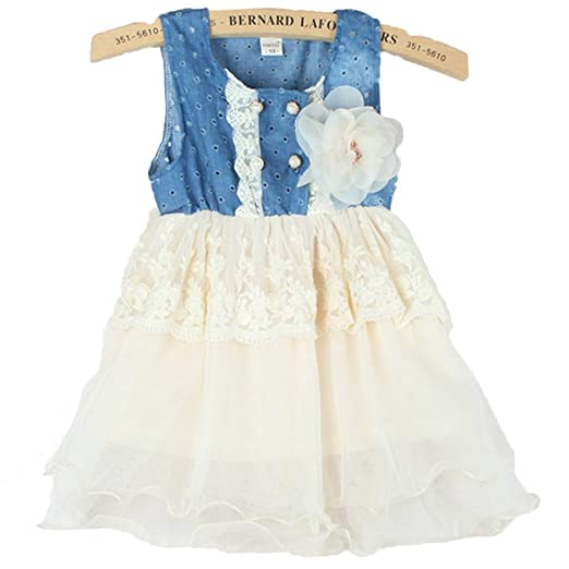 Baby-Girl-Princess-Tulle-Skirt-Denim-Dress-Kids-Lace-Layered-Party-Dress-0-5Year
