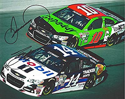 2X AUTOGRAPHED Tony Stewart & Danica Patrick 2015 Mobil 1 / GoDaddy Tax Act Racing (On-Track) Signed 8X10 Picture NASCAR Glossy Photo with COA