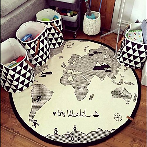 Hiltow World Map Rug Kids Rug Child Game Mats Baby Play Mat Round Area Rug (diameter 53 inches)
