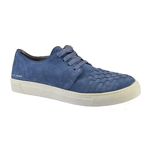 Marc-Jacobs-Men-s-Blue-Suede-Woven-Sneakers-US-11-IT-10-EU-44