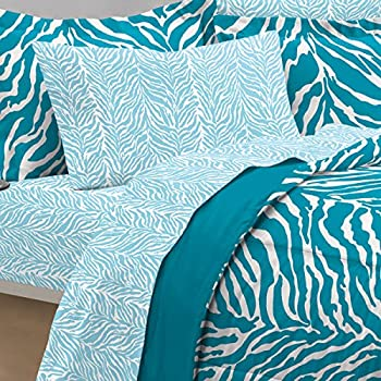 My Room Zebra Ultra Soft Microfiber Comforter Sheet Set, Aqua, Queen