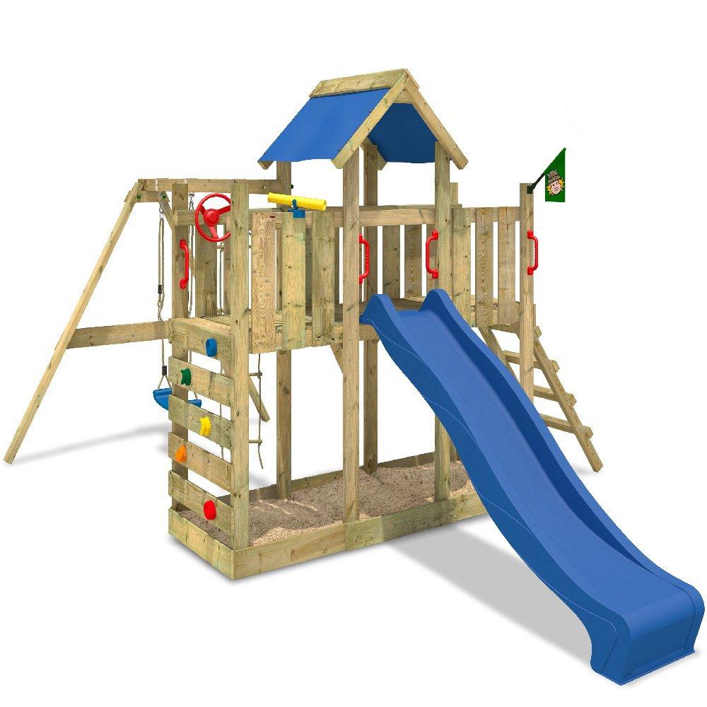 WICKEY TwinFlyer Spielturm Kletterturm mit Schaukel, Rutsche, Sandkasten + Zubehör-Komplettset blaue Rutsche / blaue Dachplane jetzt kaufen