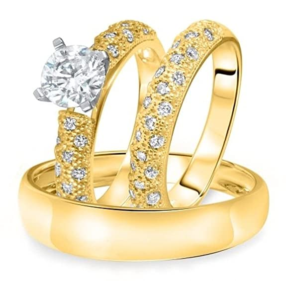Vorra Fashion 14K Gold Plated 925 Sterling Silver 1 1/2 Ct Round CZ Trio Wedding Ring Set