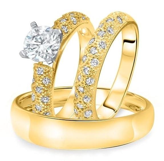 Vorra Fashion 14K Gold Plated 925 Sterling Silver 1 1/2 Ct Round CZ Trio Wedding Ring Set