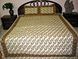 Bedspreads-3pc Set White Floral Print Cotton Indian Bedspreads King / queen ....