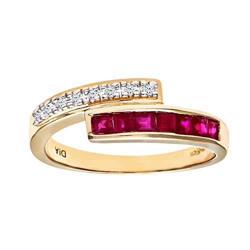 Naava Ladies 9ct Yellow Gold Diamond And Ruby Crossover Ring