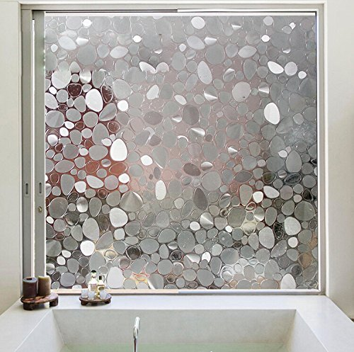 Coavas 3D Cobblestone Window Film Home Privacy Non-Adhesive Static Cling Uv Filtering Decorative Frosted Window Film 35.4 by 78.7 inches(90 by 200CM) (Stained Glass French Doors compare prices)