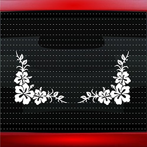 Hibiscus #14 Corner Pair Cute Hawaiian Car Sticker Truck Window Vinyl Decal COLOR: HOT PINK (Hot Pink Truck Accessories compare prices)