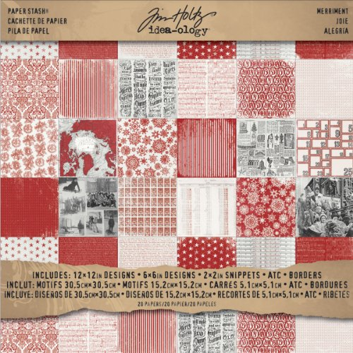 Tim Holtz Idea-Ology Th93100 Merriment Paper Stash, 20 Sheets Of Double-Sided Cardstock, Various Sizes, Red, Black And White front-404615