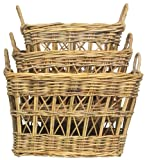 "Natural Rattan Rectangle Laundry Baskets Set / 3 Large = 24"" x 20"" x 14""H"