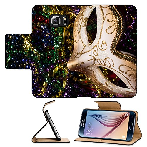 Luxlady Premium Samsung Galaxy S6 Flip Pu Leather Wallet Case IMAGE ID: 26111871 Colorful Mardi Gras Mask with beaded (Carnavale Costumes)