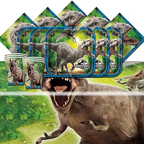 Great Features Of Jurassic World Park Dinosaurs Birthday Complete Party Tableware Pack For 16