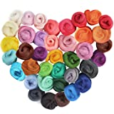 LoveInUSA Needle Felting Kit, 36 Colors Wool Roving Felting Wool DIY Felting Needles