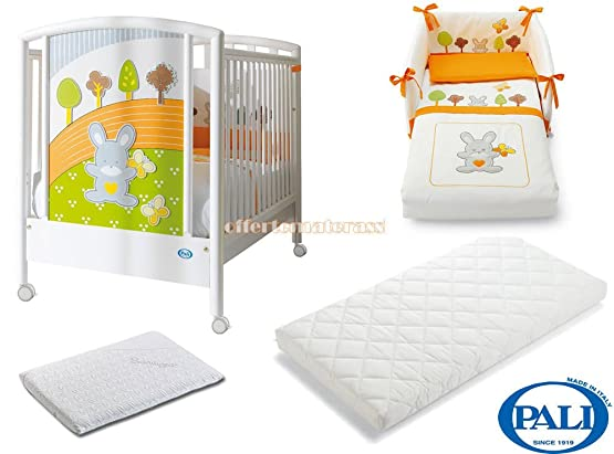Lettino Pali Smart Bosco + Materasso Evolution + Set Tessile Arancio + Pali Med (BIANCO)