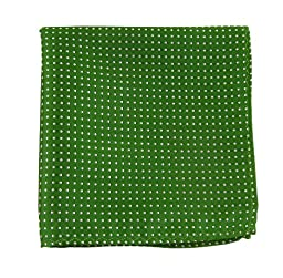 100% Woven Silk Kelly Green Pindot Patterned Pocket Square