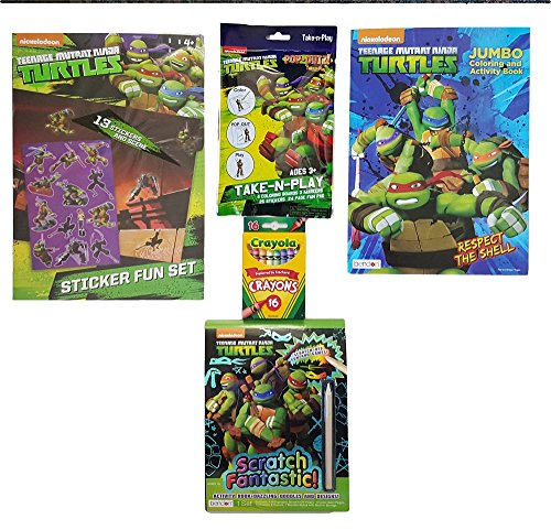 TMNT Bundle of 5 Items-Including Pop-Outz Pack,Scratch Fantastic Activity Set,Sticker Scene Fun Set,62 Page Jumbo Coloring & Activity Book and Box of 16 Crayola Crayons (Tmnt Fish Face compare prices)