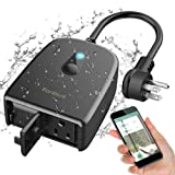 Outdoor Smart Plug TONBUX 2.4G WiFi Outlet with 2 Sockets Compatible with Alexa Google Home IP44 Waterproof Wireless Remote Control Switches with Schedule & Timer Controlled by Smartphone (Color: 1 in 2 out, Tamaño: 1 in 2 out)