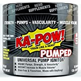 KA-POW! PUMPED Universal Pump Powder INSTANT PUMP AND MUSCLE VOLUMIZER Stimulant-Free & Flavorless mix to any preworkout or energy drink TO CREATE YOUR PERFECT PUMP!