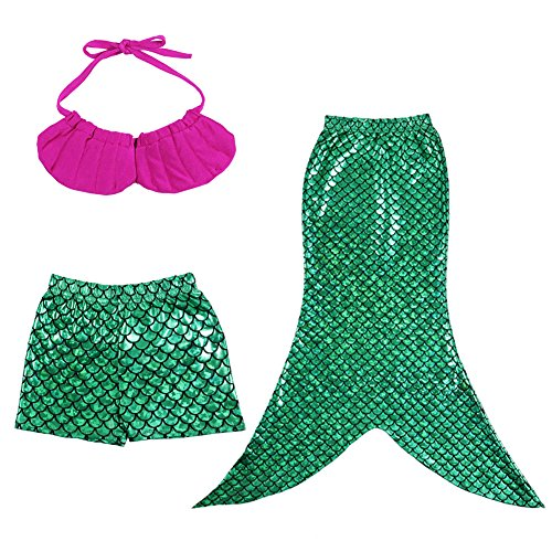 Meihuida Little Girls 3 Pcs Princess Mermaid Tail Swimmable Bikini Set
