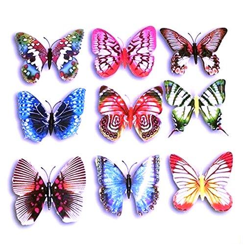 Foxnovo 10ST lebensechte 3D künstliche Schmetterling Kühlschrank Kühlschrank Magnete Dekorationen (zufällige Farbe)