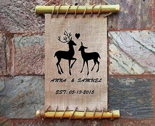 LOVE Deer Personalized Housewarming Gift, Newly Wed Gift, Wedding Gift, Burlap Sign, Family Sign , Framed Antler