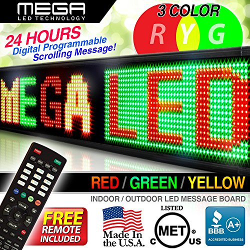 "Led Programmable Message Display_26Mm_Double Red _69"" X 19""/Business Tools"